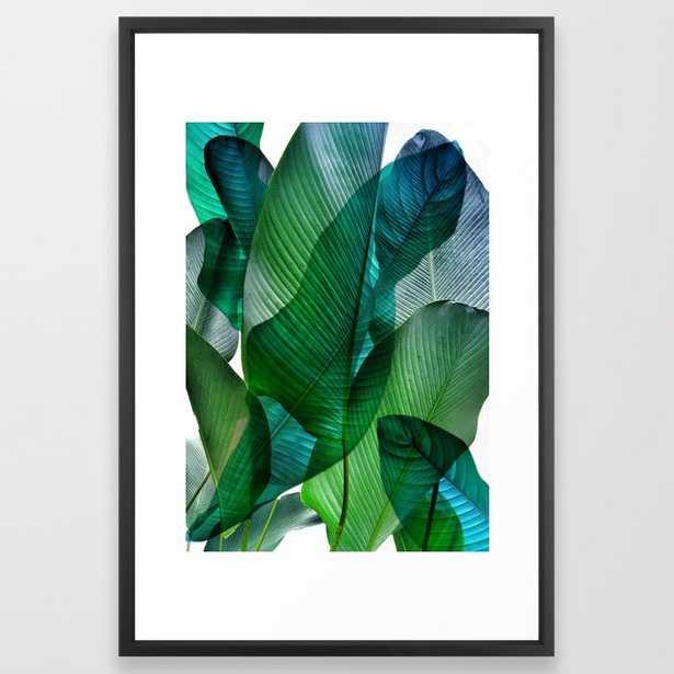 Palm Leaf Jungle Bali Banana Palm Frond Greens - Vector Black - Society6