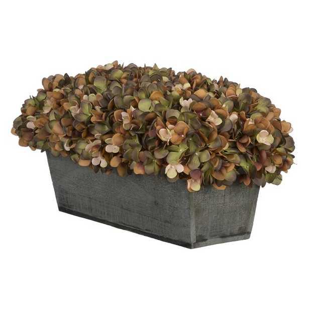 Hydrangeas Centerpiece in Planter - Wayfair