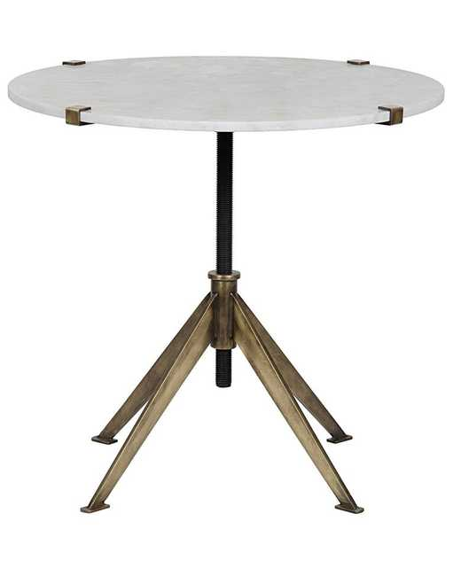 DEVYN ADJUSTABLE SIDE TABLE, ANTIQUE BRASS & QUARTZ - McGee & Co.