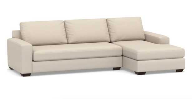 Big Sur Square Arm Upholstered Left Arm Sofa with Chaise Sectional and Bench Cushion, Down Blend Wrapped Cushions, Sunbrella(R) Performance Herringbone Oatmeal - Pottery Barn