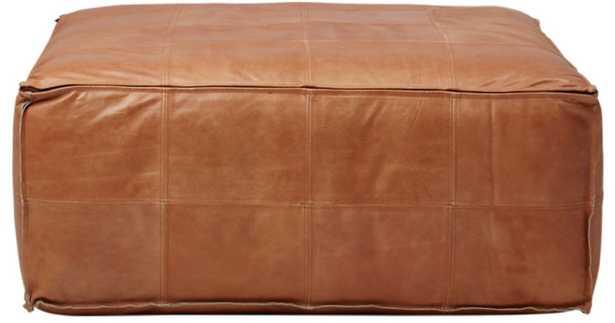 Leather ottoman-pouf - CB2