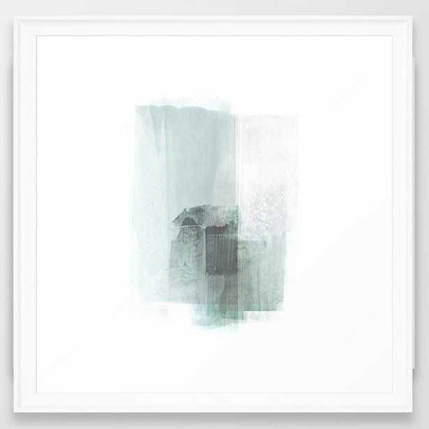 """Pale Teal Blue Minimalist Abstract Painting Framed Art Print, Vector White, Medium (gallery) - 22"""" X 22"""" - Society6"""