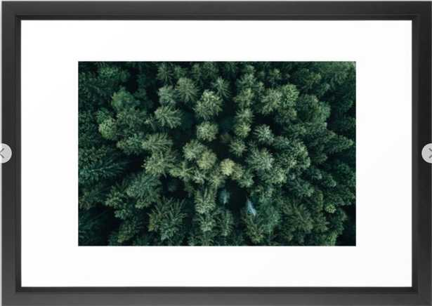 Forest from above - Landscape Photography Framed Art Print - 15'' x 21''- Black Vector - Society6