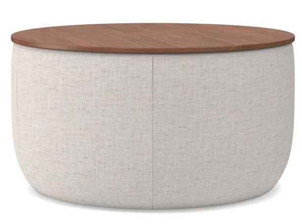 Upholstered Storage Ottoman - Medium Round, Poly, Stone White - West Elm