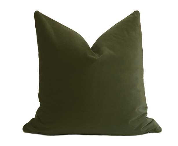Belgium Velvet Pillow Cover - Olive Green- 20x20 - Linen & Seam