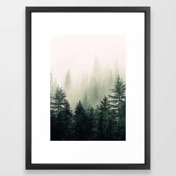 Foggy Pine Trees Framed Art Print - Society6