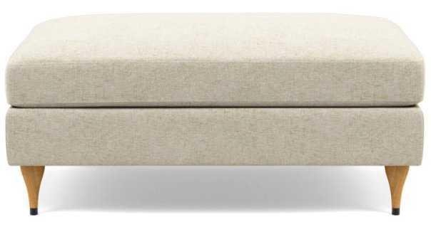 "Sloan Ottoman - 39"" - Flax Performance Crosshatch - Natural Oak w/ Cap - Interior Define"