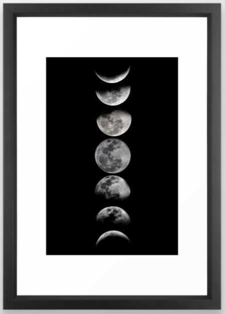 Phases of the Moon Framed Art Print - Society6