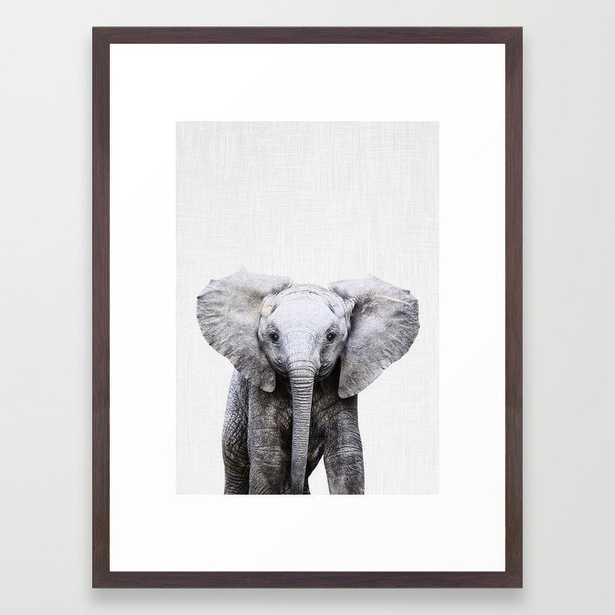 "Baby Elephant Framed Art Print, 20""x26"", Conservation Walnut Frame - Society6"