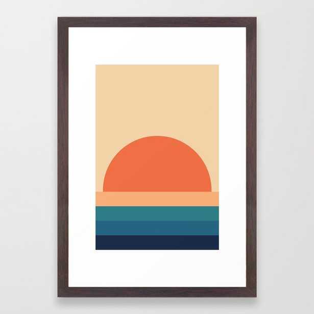 70's Retro Sunset Framed Art Print - Society6