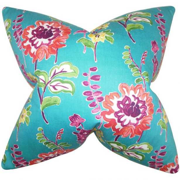 Haley Floral Pillow Peacock- Down insert - Linen & Seam