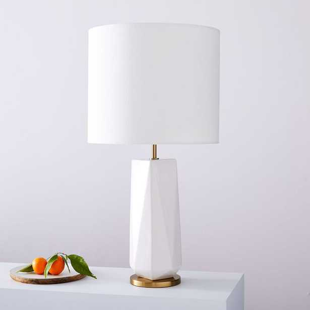 Faceted Porcelain Table Lamp, Large, White, Individual - West Elm