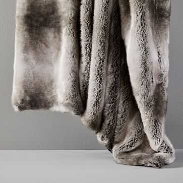 """Faux Fur Ombre Throw, 60""""x80"""", Feather Gray - West Elm"""