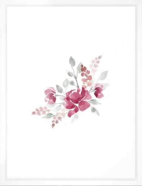 "Burgundy Watercolor Floral Art Print - 20"" x 26"" -Vector White Frame - Society6"