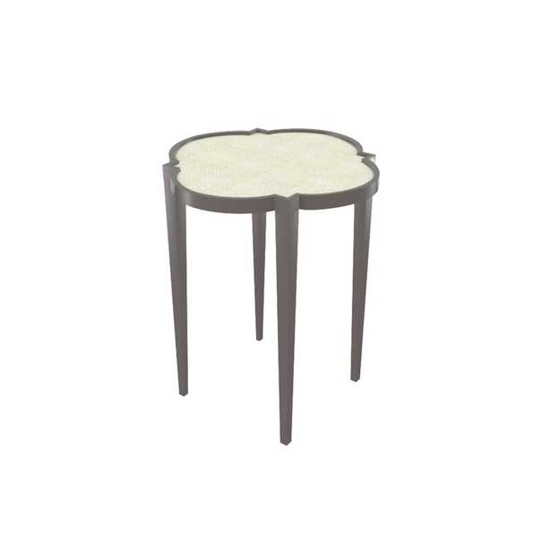 Oomph Tini IV End Table Table Base Color: Fawn Brindle, Table Top Color: Whitewashed Raffia - Perigold