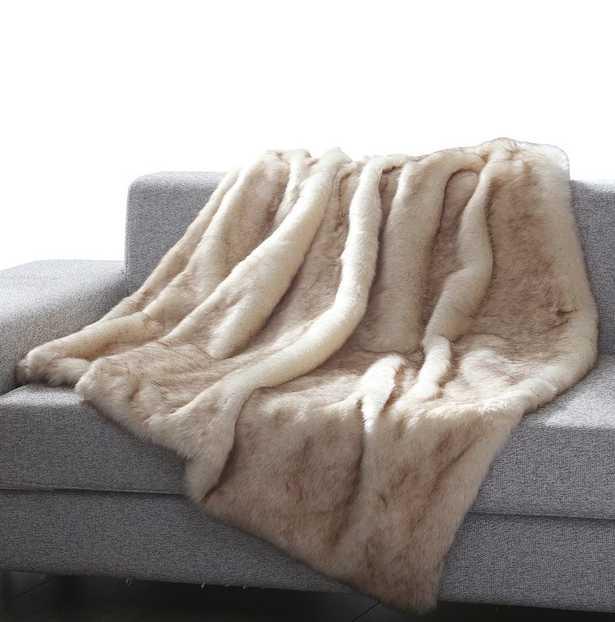 Thiele Luxury Tip Dye Faux Fur Throw - Beige Mink - Wayfair