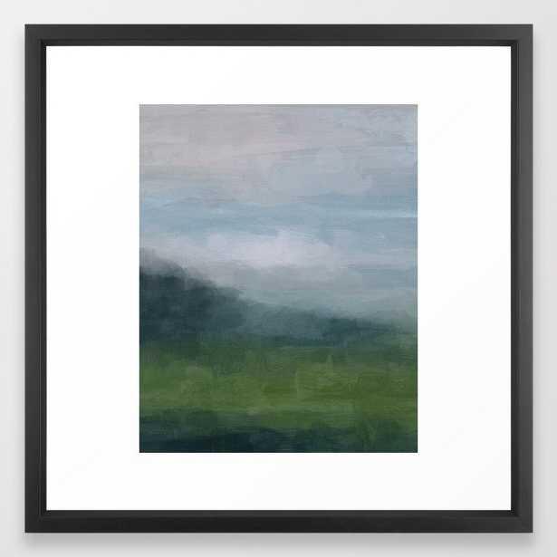 Gray Blue Navy Indigo Grass Green Abstract Painting Wall Art Prints, Nature Horizon, Modern Wall Art Framed Art Print - Society6