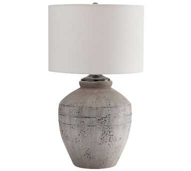 Maddox Ceramic Table Lamp, Rustic Gray Base With Medium Gallery Straight Sided Drum Shade, White - Pottery Barn
