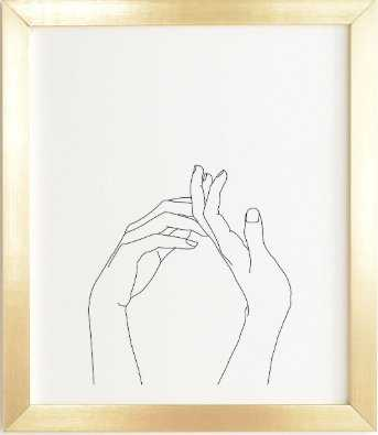 HANDS LINE DRAWING ABI- 11x13, gold frame - Wander Print Co.