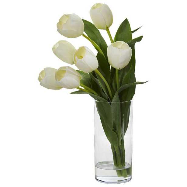 Tulip Artificial Arragngement in Cilinder Vase - Fiddle + Bloom