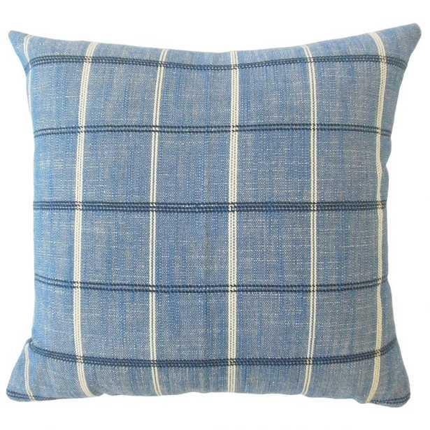 Hajnal Plaid Pillow Indigo - Linen & Seam