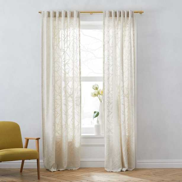 """Sheer Abstract Glass Curtain, Belgian Flax, 48""""x84"""" - West Elm"""