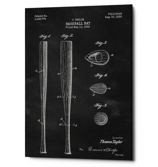 'Baseball Bat Blueprint Patent Chalkboard' Print on Wrapped Canvas in Black - Wayfair