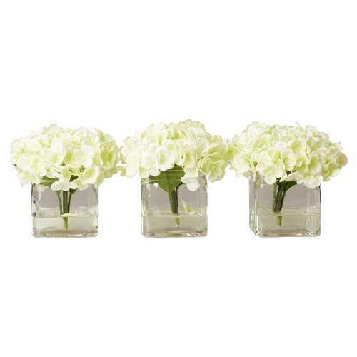 Faux Potted Mini Hydrangea Floral Arrangement in Vase - Wayfair
