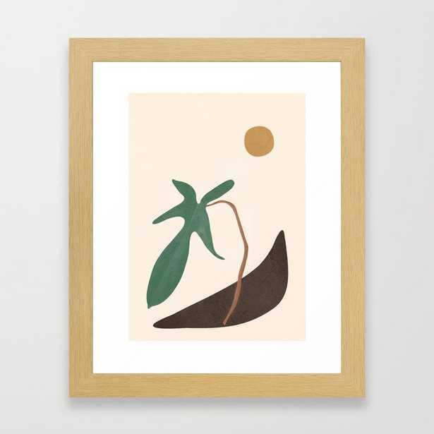 "Minimal New Leaf Framed Art - conservation natural 10"" x 12"" - Society6"