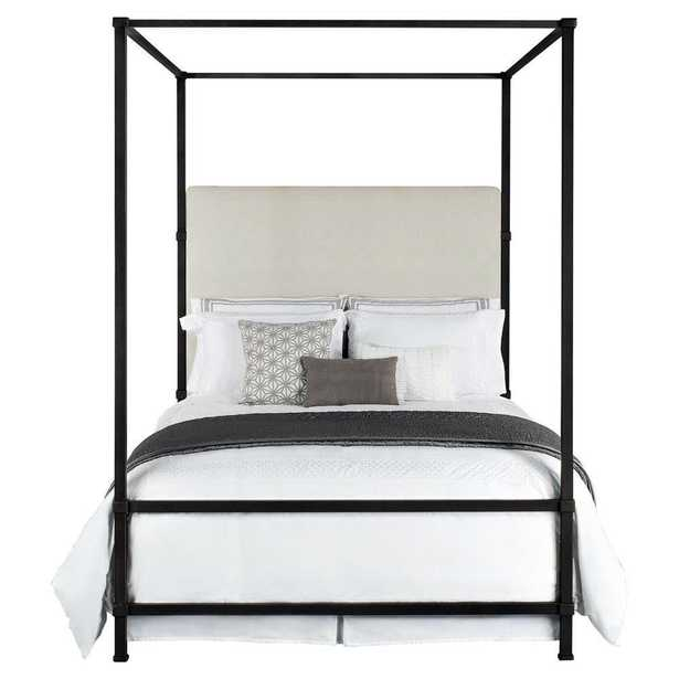Quade Upholstered Iron Canopy Four Poster Bed - King - Kathy Kuo Home