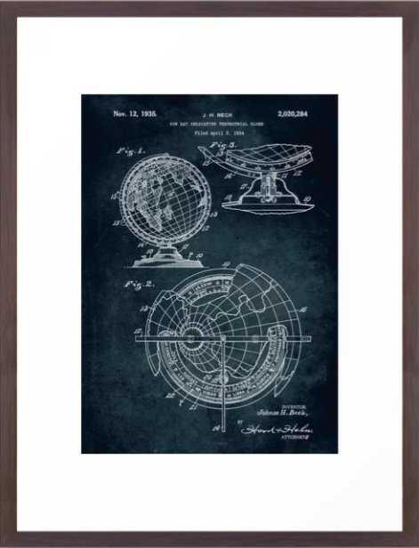 1934 - Sun ray indicating terrestrial globe patent art Framed Art Print - Society6