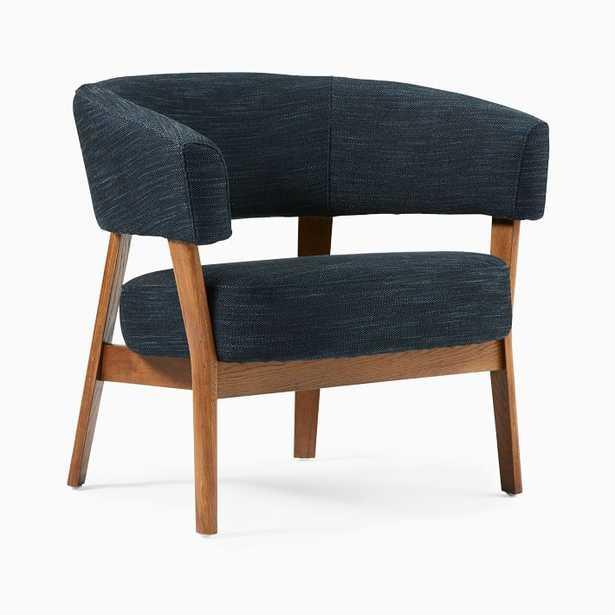 Juno Chair, Poly, Basket Slub, Dark Midnight, Pecan - West Elm