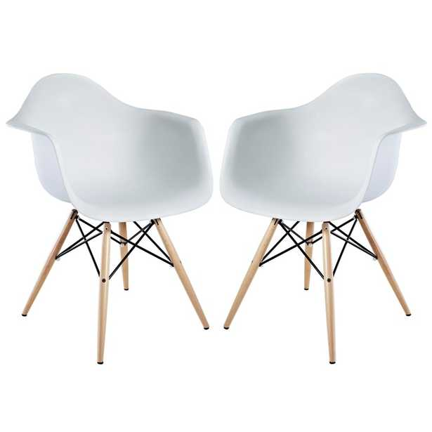 PYRAMID DINING ARMCHAIR IN WHITE SET OF 2 - Modway Furniture