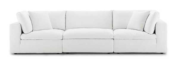 COMMIX DOWN FILLED OVERSTUFFED 3 PIECE SECTIONAL SOFA SET IN WHITE - Modway Furniture