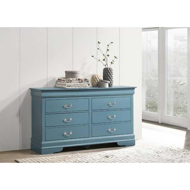 Louis Phillipe 6 Drawer Double Dresser, Blue - Wayfair