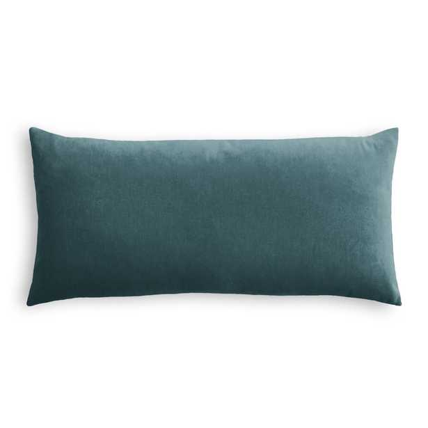 "Classic Velvet Pillow, Dark Teal, 12"" x 18"" Lumbar + insert - Havenly Essentials"