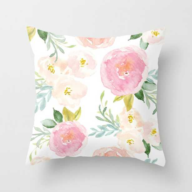 Sweet Pink Blooms (Floral 02) Throw Pillow - Society6