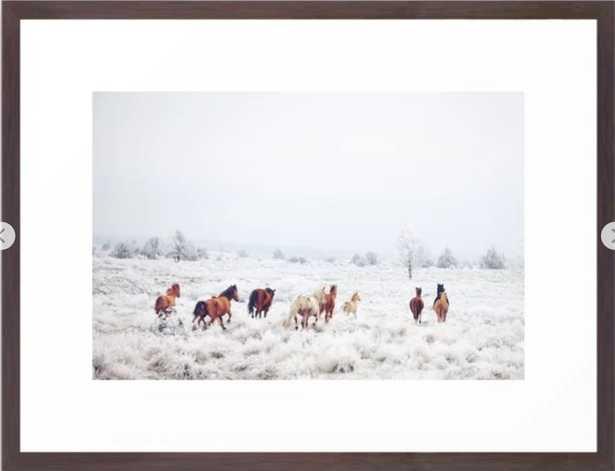 """Winter Horses Framed Art Print, 20"""" X 26"""", Conservation Walnut - Society6"""