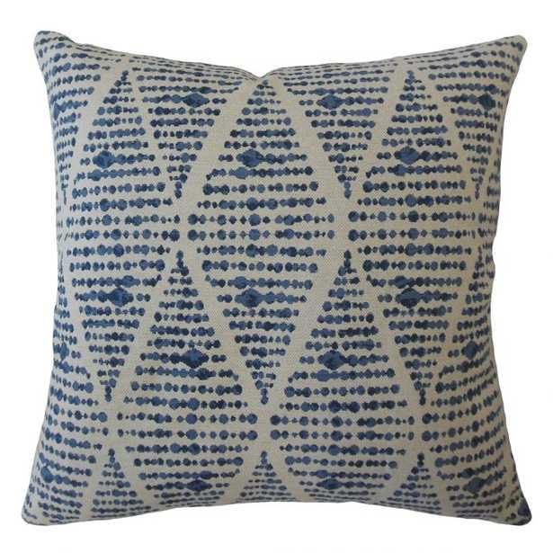 "Cahdla Geometric Pillow Blue - 24""x 24"", pillow cover only - Linen & Seam"