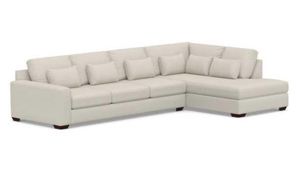 Big Sur Square Arm Upholstered Deep Seat Left Grand Sofa Return Bumper Sectional, Down Blend Wrapped Cushions, Sunbrella(R) Performance Slub Tweed Pebble - Pottery Barn