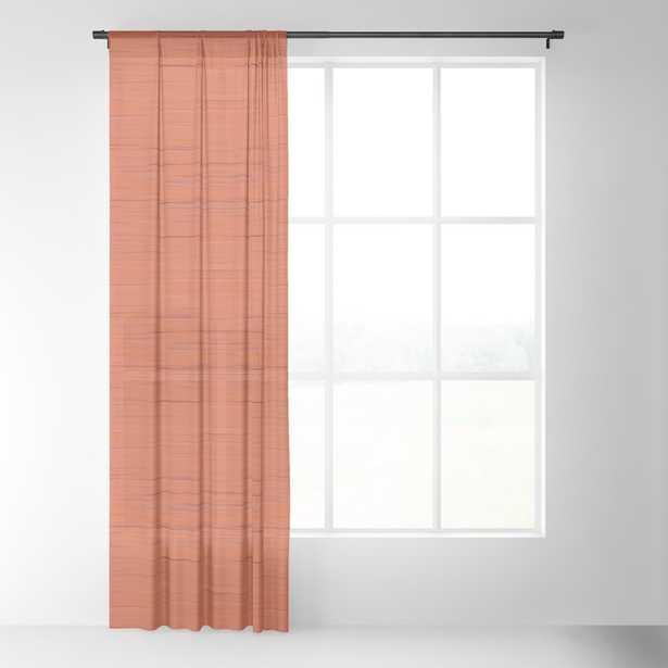 Meteor Stripes - Rust Orange Sheer Curtain - Society6