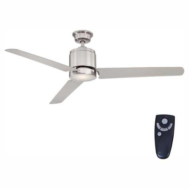 Railey 60 in. LED Indoor Brushed Nickel Ceiling Fan with Light Kit and Remote Control - Home Depot