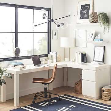 Parsons L-Shaped Desk + File Cabinet Set, White - West Elm