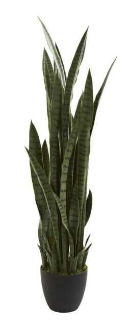 """46"""" Sansevieria Artificial Plant - Fiddle + Bloom"""