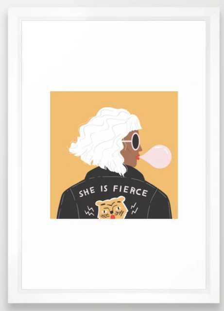She Is Fierce Framed Art Print - Society6