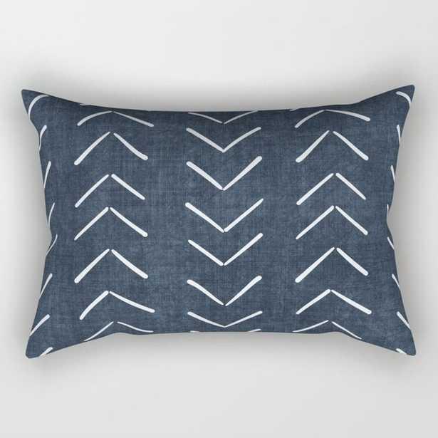 Mud Cloth Big Arrows in Navy Rectangular Pillow - Society6