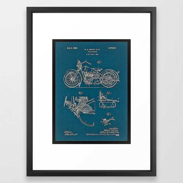 1902 Motorcycle Blueprint Patent in blue Framed Art Print - Society6