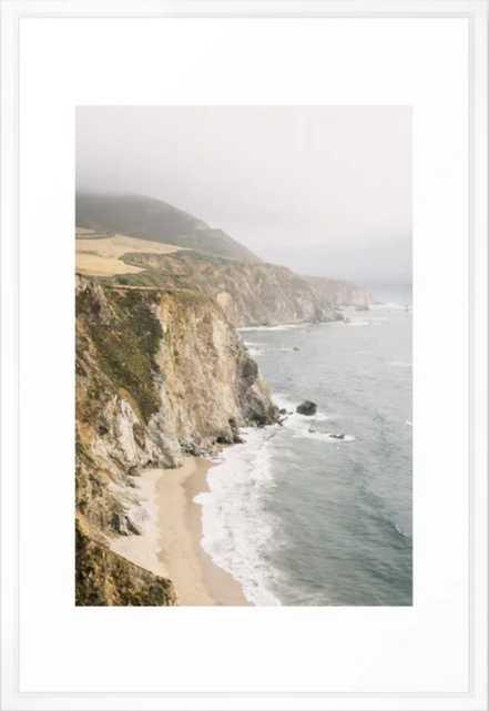 "Big Sur California Framed Art Print - 26"" x 38"" - Vector White - Society6"