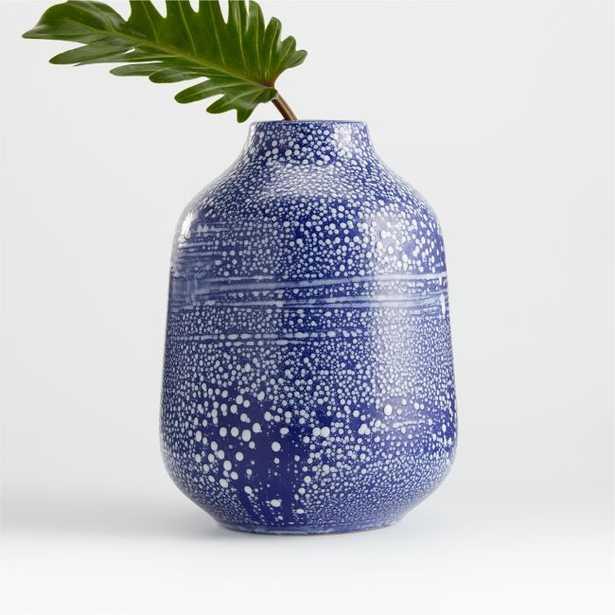 Alya Blue Speckled Vase - Crate and Barrel