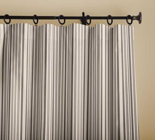 "Antique Stripe Print Drape, Cotton Lining, 50 x 124"", Gray - Pottery Barn"